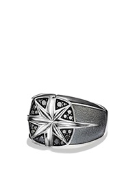 David Yurman Maritime North Star Signet Ring With Black Diamonds Silver