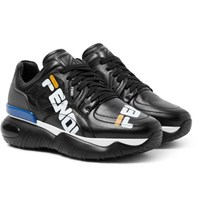 Fendi Logo Print Leather And Rubber Sneakers Black
