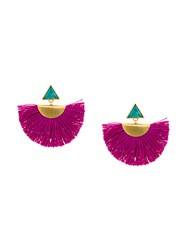 Katerina Makriyianni Mini Fan Earrings Pink And Purple