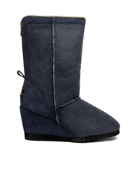 Love From Australia Wedge Zip Fold Short Boots Navy