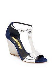 Rupert Sanderson June Metallic Leather And Suede Wedge Sandals Blue Silver