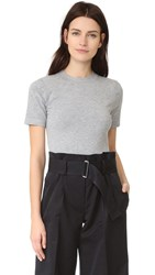 Dkny Short Sleeve Crew Neck Bodysuit Heather Grey