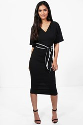 Boohoo Kimono Tie Waist Formal Midi Dress Black