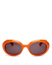 Moschino Cut Out Logo Oval Sunglasses 52Mm Orange Grey Lens Solid