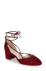 Kenneth Cole Women's New York Toniann Lace Up Pump Brick Red Suede