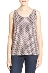 Women's Halogen Double V Neck Shell Pink Green Festive Print