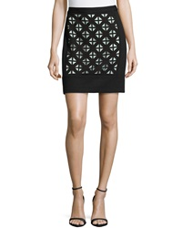 Laundry By Shelli Segal Knit Laser Cut Detail Skirt Black Warm White