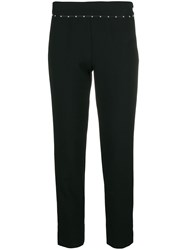 Emporio Armani Embellished Cropped Trousers Black