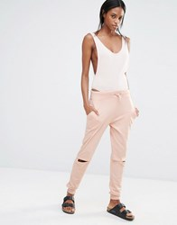 Missguided Rip Knee Joggers Nude Beige