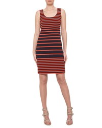 Akris Punto Sleeveless Striped Scoop Neck Dress Navy Rust Navy Rust