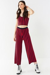 Urban Outfitters Uo Striped Sweater Wide Leg Pant Navy