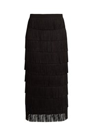 Raey Long Fringed Midi Pencil Skirt Black