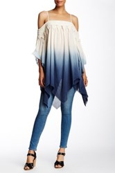 Ryu Dip Dye Cold Shoulder Blouse Blue