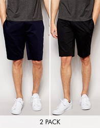 Asos Skinny Fit Smart Shorts In Cotton Sateen 2 Pack Black Navy Multi