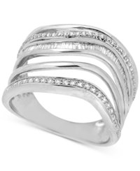 Macy's Diamond Multi Row Abstract Statement Ring 1 2 Ct. T.W. In Sterling Silver
