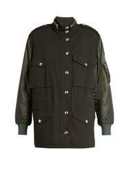Alexander Wang High Neck Satin Bomber Jacket Khaki