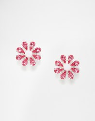 Krystal Swarovski Crystal Floral Stud Earrings Pink