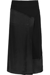 Donna Karan Wrap Effect Chiffon And Satin Skirt Black