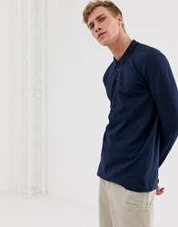 Selected Homme Long Sleeve Polo Shirt In Organic Cotton Navy