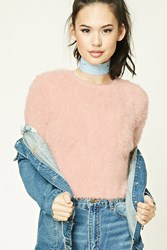 Forever 21 Fuzzy Faux Mohair Sweater Blush
