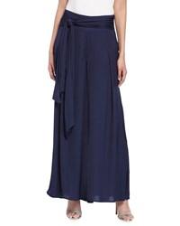 Philosophy Belted Charmeuse Palazzo Pants Structured Navy
