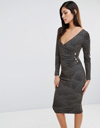 Vesper Printed Cross Front Pencil Dress Gold Feather