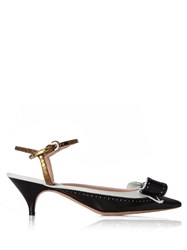 Rochas Bow Embellished Leather Pumps Black White