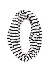 Forever 21 Striped Knit Infinity Scarf Cream Black