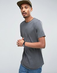 Asos Super Longline T Shirt With Crew Neck And Curved Hem In Grey Stingray