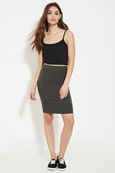 Forever 21 Cotton Blend Pencil Skirt Charcoal Heather