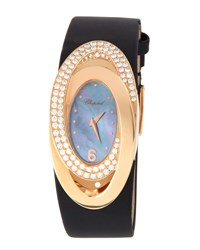 Chopard 18K Rose Gold And Pave Diamond Oval Watch