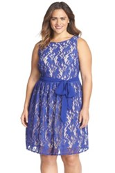 Gabby Skye Belted Lace Fit And Flare Dress Plus Size Blue