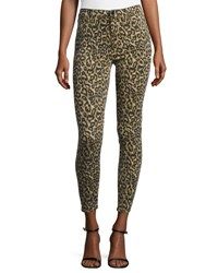 J Brand Alana High Rise Skinny Ankle Jeans Gold Leopard