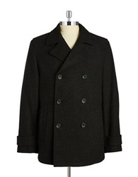 Black Brown Double Breasted Peacoat Charcoal
