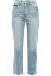 Dl1961 Woman Mara Faux Pearl Embellished High Rise Straight Leg Jeans Light Denim