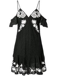 Aniye By Cold Shoulder Floral Embroidered Lace Dress Black