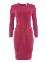 Gant Stretch Cotton Cable Knit Dress Raspberry