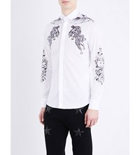 Philipp Plein Tattoo Print Cotton Shirt White