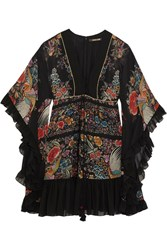 Roberto Cavalli Lace Up Ruffled Printed Silk Georgette Mini Dress Black