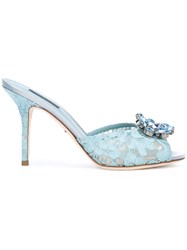 Dolce And Gabbana Bejewelled Lace Mules Women Cotton Leather 39 Blue