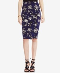 Vince Camuto Stretch Knit Pencil Skirt Evening Navy Print