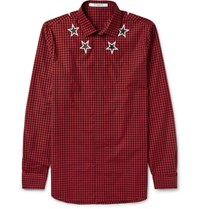 Givenchy Star Print Gingham Cotton Shirt Red