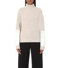Victoria Beckham Military Patch Wool Jumper Biscuit White