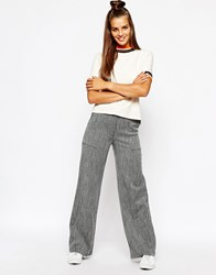 Monki Wide Leg Pocket Detail Trouser Black