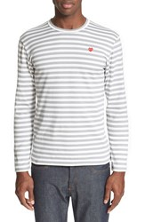 Men's Comme Des Garcons 'Play' Long Sleeve Stripe Crewneck T Shirt Grey