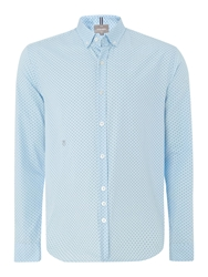 Henshall Polka Dot Button Down Shirt Sky Blue