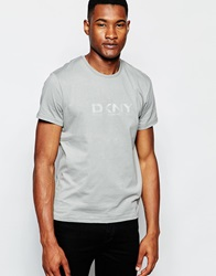 Dkny Crew T Shirt Rubber Chest Print Grey