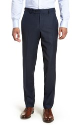 Ted Baker London Jefferson Flat Front Check Wool Trousers Navy