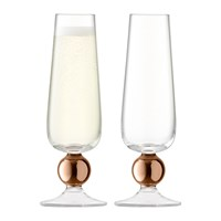 Lsa International Oro Champagne Flute Set Of 2 Rose Gold