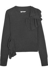 Maison Martin Margiela Mm6 Ruffled Knitted Sweater Anthracite